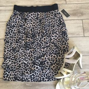 Alfani leopard ruffled pencil skirt
